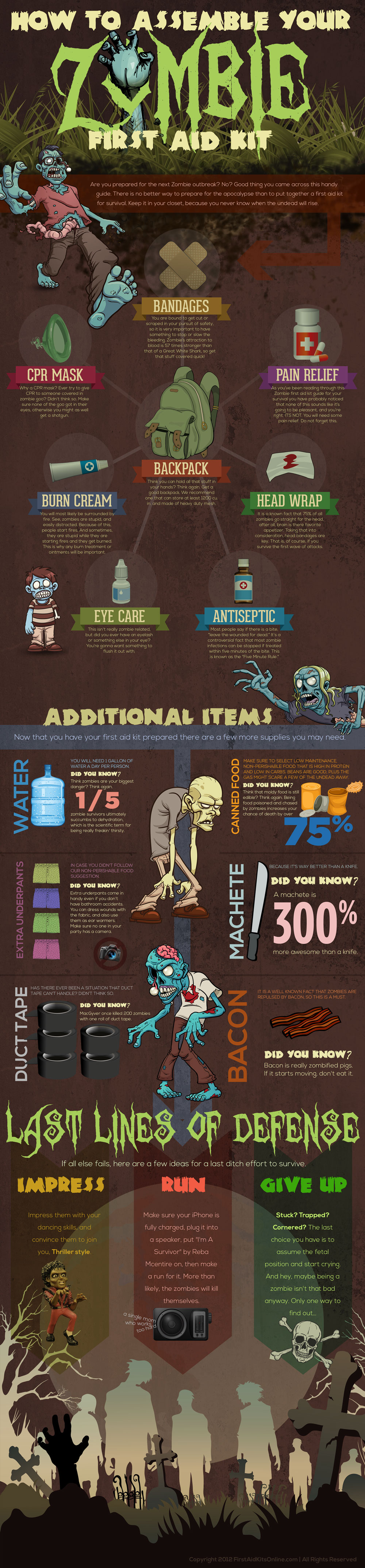 How to Create a Zombie Apocalypse First Aid Kit infographic